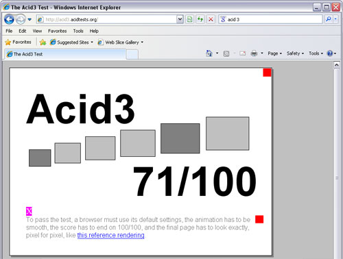 Screenshot of how IE 8.1 beat the Acid3 test.