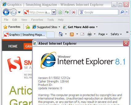 Screenshot of IE 8.1