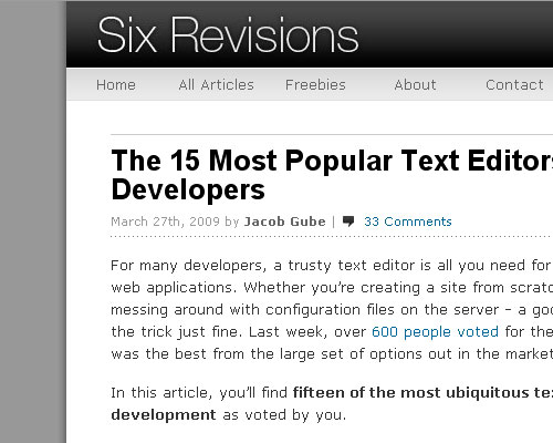 Six Revisions screen shot. Such a great site I wonder who runs it.