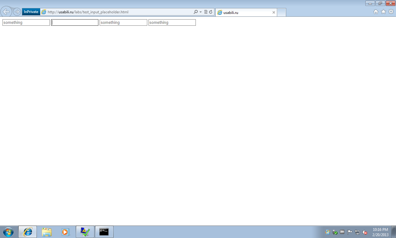 IE10 Windows8 placeholder test